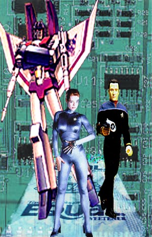 Disclaimer: The characters in this illustration, Starscream from The Transformers, Seven of Nine from Star Trek: Voyager, and Data from Star Trek The Next Generation are the property of their respective  creators.
